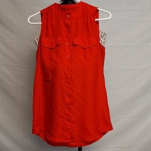Red jcrew sleeveless blouse